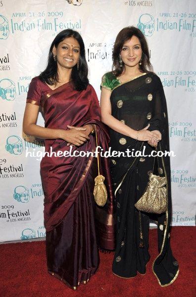 Two style divas Nandita and Tisca, in saree.