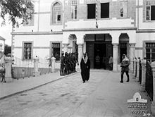 Battle of Aleppo (1918) - Prince Feisal leaving Chauvel's Desert Mounted Corps Headquarters in Damascus
