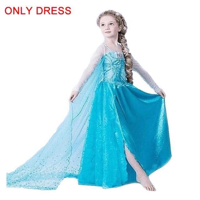 Frozen Elsa Party Dress Blue Fancy cosplay girls childrens kids Party Dress