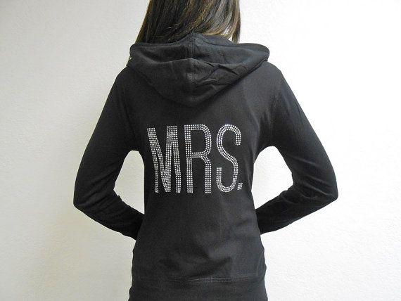 MRS. Hoodie. Bride Hoodie Sweatshirt. Zip Up Hoodie. MRS. Clear Rhinestones. Honeymoon Hoodie. Newlywed Hoodie. Just Married Hoodie. MRS. on Etsy, $26.99