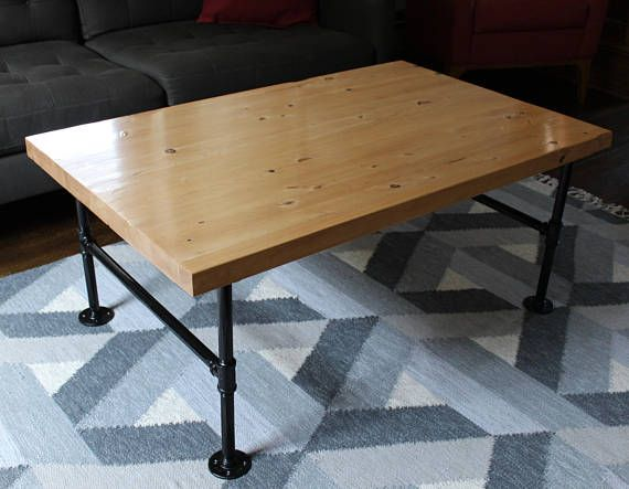 Rustic Coffee Table with Pipe Legs Industrial Style Coffee