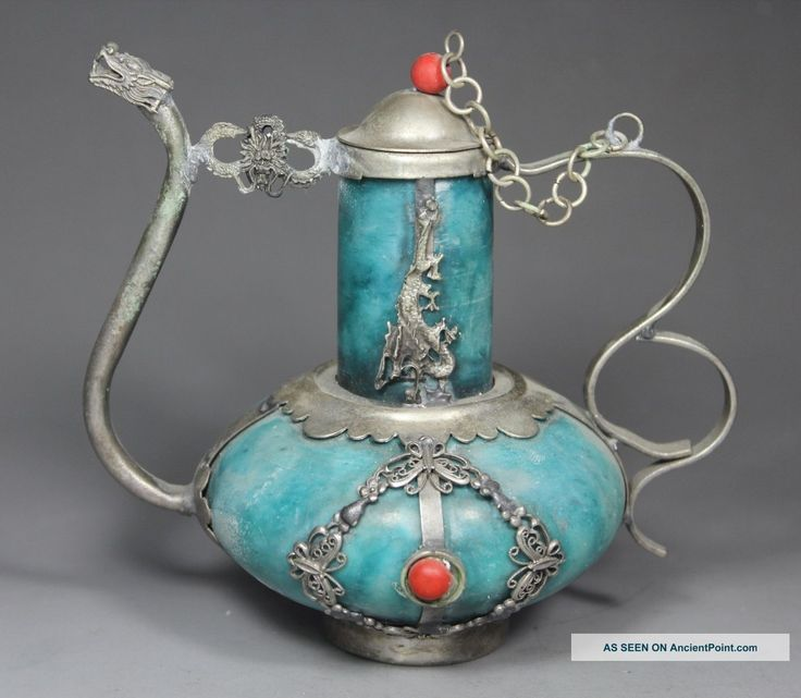 Chinese Old Jade Handwork Dragon Phoenix Butterfly Tea Pot