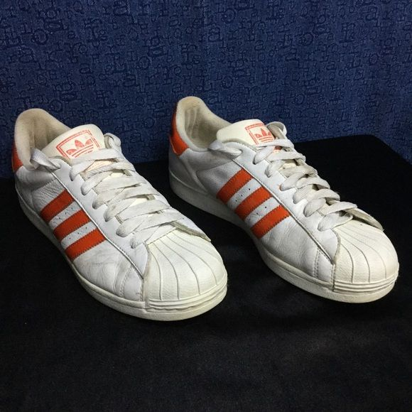 ADIDAS SUPERSTAR white/orange vintage . m10 w12 44 Prod date 10/98 ... Vintage SUPERSTAR .... Some wear... Stains, leather scuffing, sticky areas...but still a decent rare pair Adidas Shoes Athletic Shoes