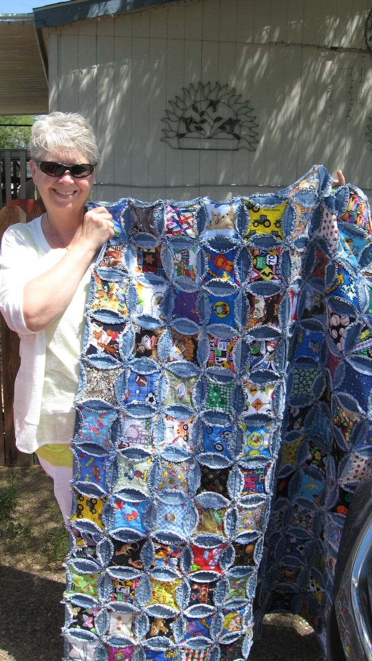 Cathedral denim I spy quilt