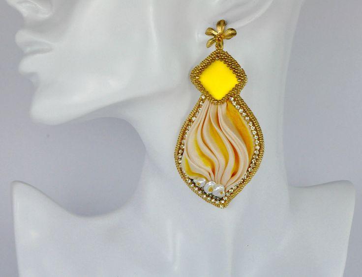 Yellow silk handmade earrings, Save today!  #etsy: Silk dangle earrings, Bridal earrings, Big silk earrings, Braidsmaid jewels, Pendant big earrings, Yellow dangle jewels, mothers day gift http://etsy.me/2oIc7oE #gioielli #orecchini #giallo #afarfallin