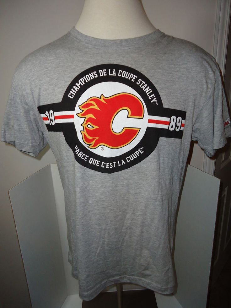 Coors Light Stanley Cup Champions 1989 Gray T-Shirt Calgary Flames NHL Large