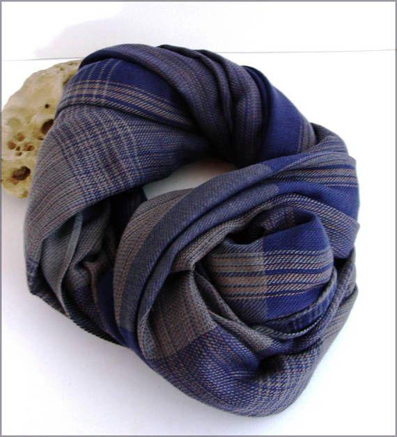 blue/grey man scarf/wrap Écharpe Homme