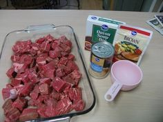 No Peek Beef Tips 2 lb. - Stew Meat, 1 - 10.5 oz can cream of mushroom 1 – packet brown gravy mix 1 - packet lipton dry onion soup mix 1 – small can mushrooms 1 - cup water Mix all ingredients and pour over the meat