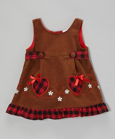 Take a look at this Brown Heart Corduroy Dress - Toddler & Girls by the Silly Sissy on #zulily today!