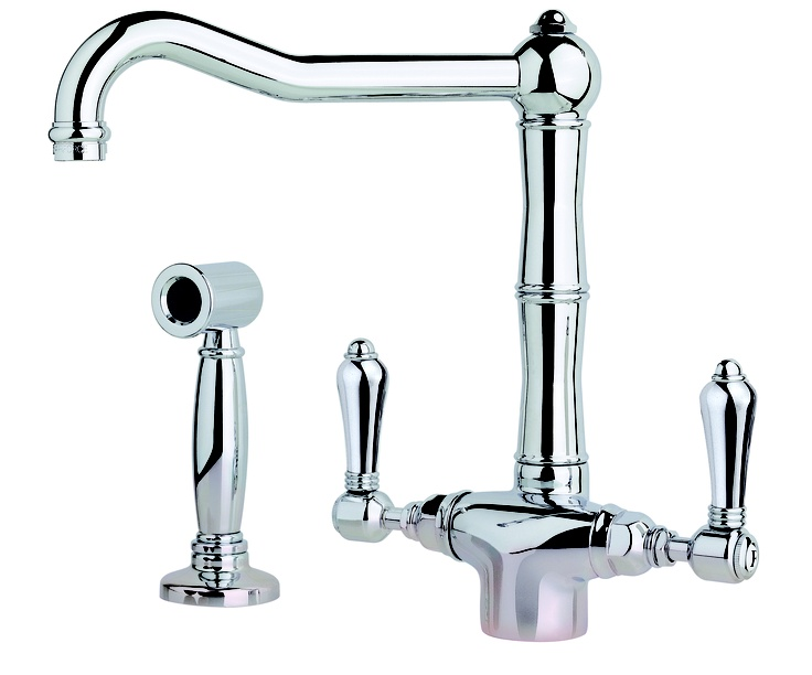 The Nicolazzi 1406 Sink Mixer Tap whilst traditional in design, brings modern functionality with a useful hand-spray feature ideal for filling and rinsing pots and pans.   With a 6 year warranty, the 1406WS is available in chrome, bright nickel and satin nickel direct from stock, although the 1406WS sink mixer tap is also available to order in many other finishes  www.sinkandtap.com.au