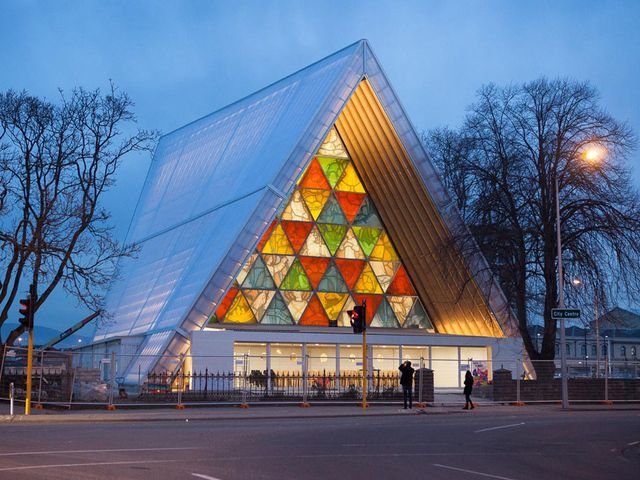'Temporary' cardboard cathedral in Christchurch, New Zealand