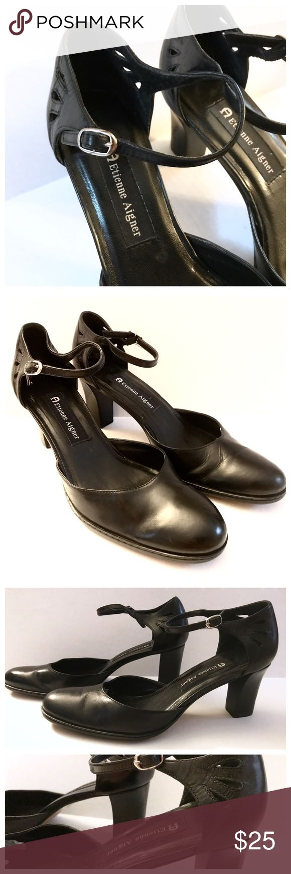"Etienne Aigner Block Heels w/ Cutouts, 8M Etienne Aigner Block Heels w/ Cutouts  Shoes by E. Aigner  Block Heel measuring 2.5"" tall  Shoes are a size 8M  The leather has been polished & these are good to go! Etienne Aigner Shoes Heels"