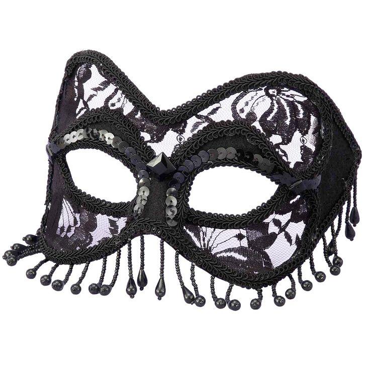 Deluxe Black Mardi Gras Mask | Costume Craze