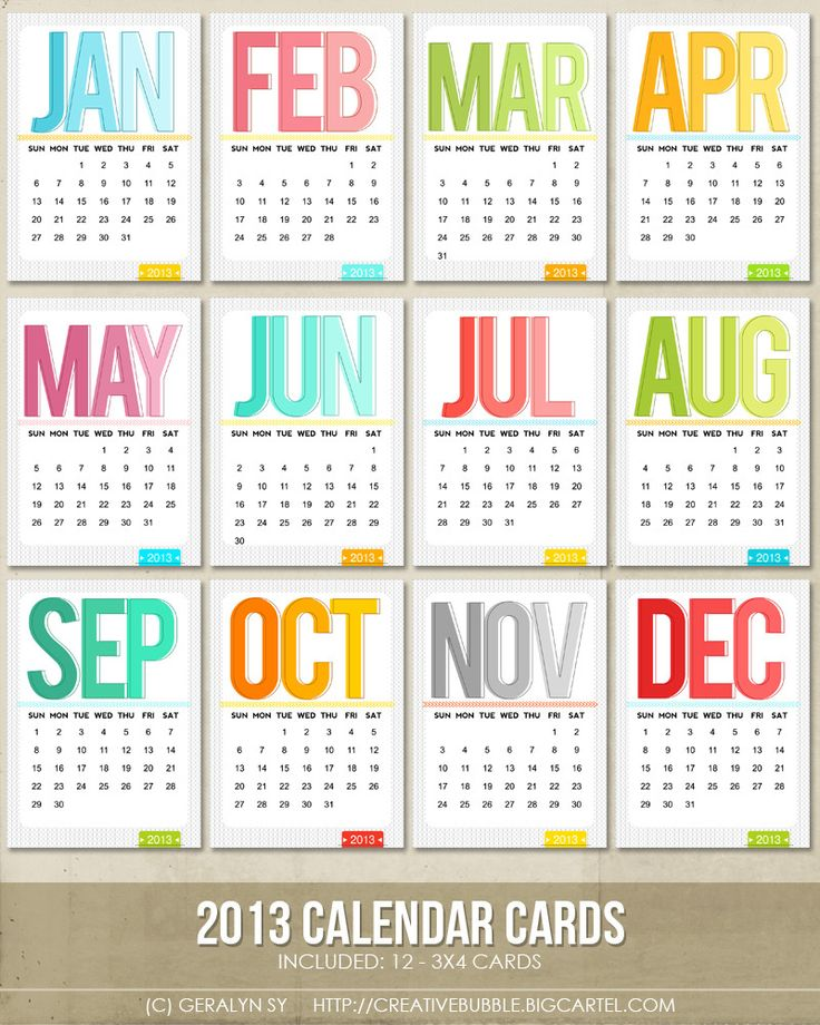 Image of 3x4 2013 Calendar Cards (Digital)
