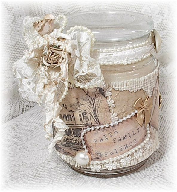 altered candle jar... neat gift idea                                                                                                                                                                                 Más