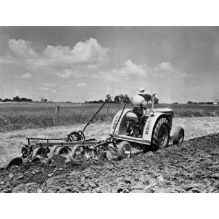 Farmer plowing a field with a tractor Fond du Lac Wisconsin USA Canvas Art - (24 x 36)
