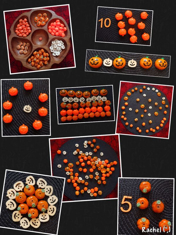 """Playing with pumpkin manipulatives - from Rachel ("""",)"""