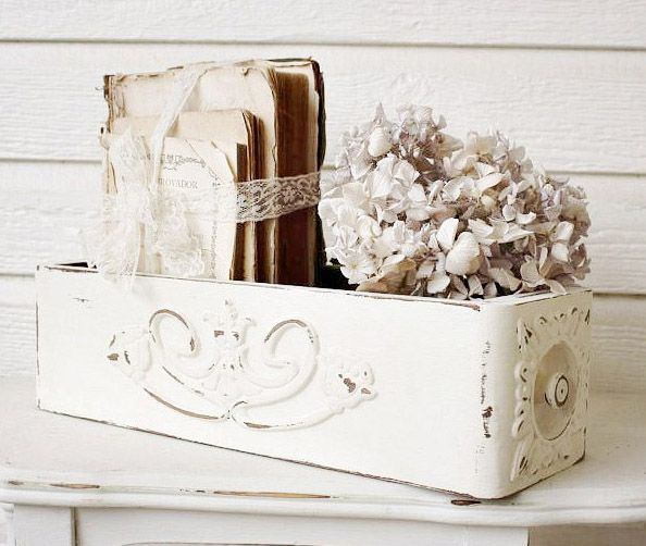 Sewing machine drawer. Great addition to shabby chic decor.