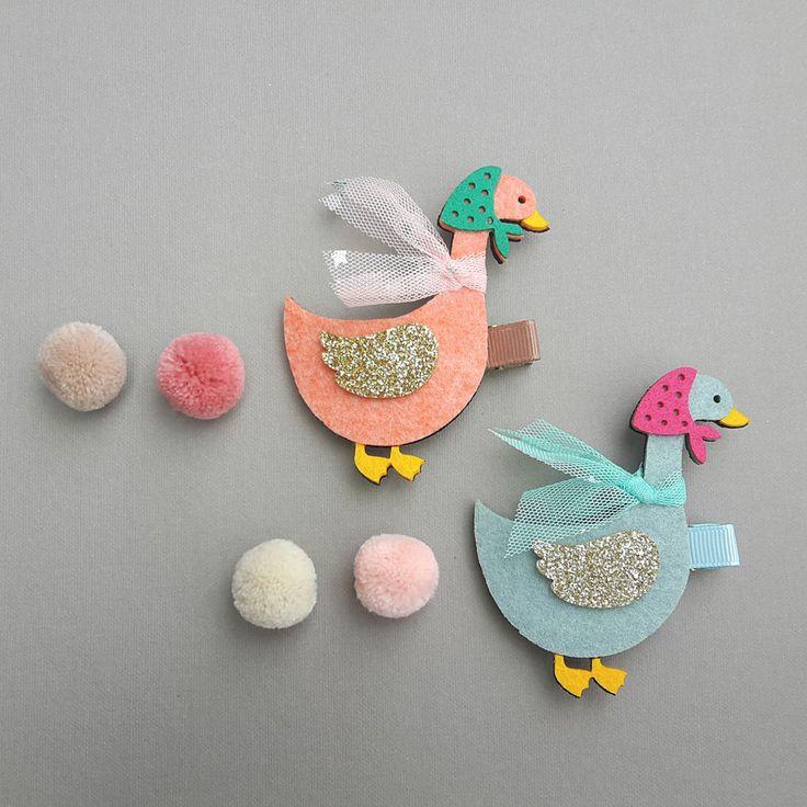 Handmade Glitter Felt Hair Clip Goose Hair Pin for baby kids girl by RIBBONNKIDS #Handmade