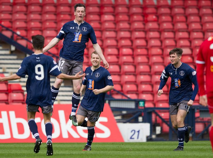 Queen's Park's David Galt celebrates his goal during the Ladbrokes League One game between Queen's Park and Albion Rovers.