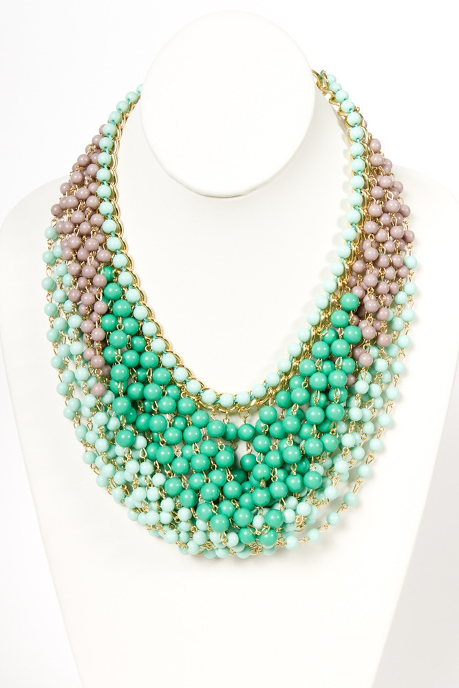 Mint Draped Bead Necklace   a-thread