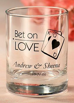 Custom Las Vegas Theme Votive or Shot Glasses from Wedding Favors Unlimited