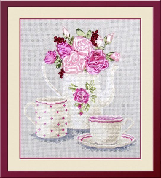 """COUNTED CROSS STITCH KIT   TEA FANTASY    PRODUCT DETAILS:  Size: 9.84 x 11.02 """" (25 x 28 cm) Canvas Type: 14 Aida Color canvas: gray The composition of the thread: cotton Scheme: Color The kit includes: canvas Aida 14 gray, tape, thread, needle, color scheme, instruction  The frame in kit is not included. Manufacturer: Oven (Russia)"""