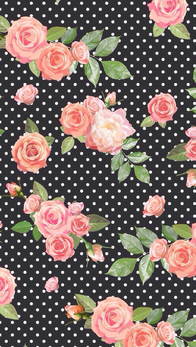 Floral black polka dot background wallpaper