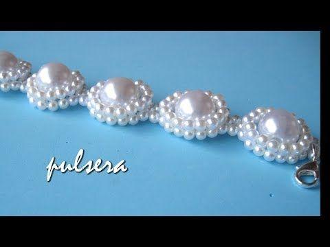 Pulseira BRACELETE de cristais e Pérolas Flores Delicadas - Maguida Silva - YouTube