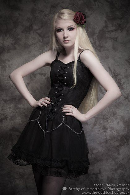 $67.15 Lace-Up Black Gothic Dress with Chains & Crosses | Ladies