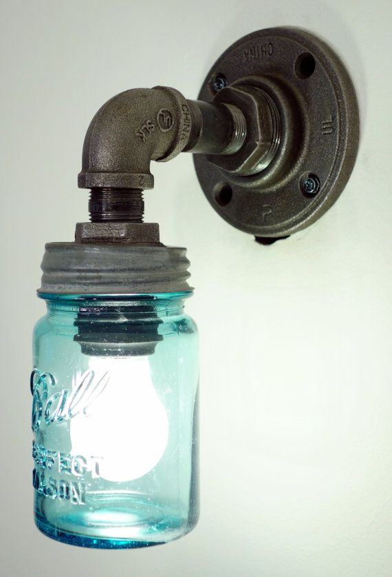 Small Mason Jar Wall Sconce Mason Jar Light Black by ConshyUpcycle, $130.00