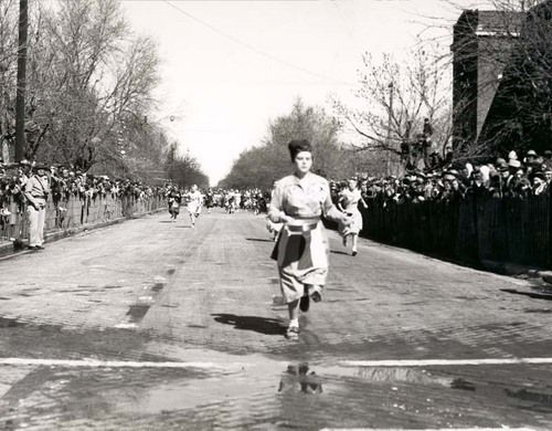 International Pancake Race on Shrove Tuesday in Liberal, 1960s