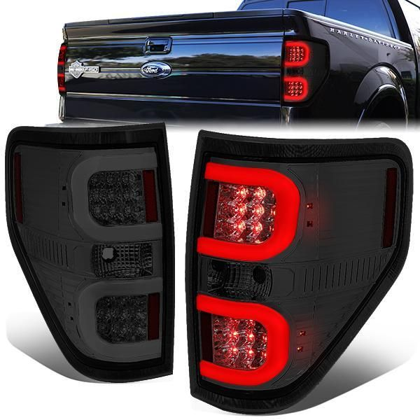 09 14 Ford F150 Dual Led C Bar Rear Brake Tail Lights Smoked Housing Tail Light Ford Bar Led