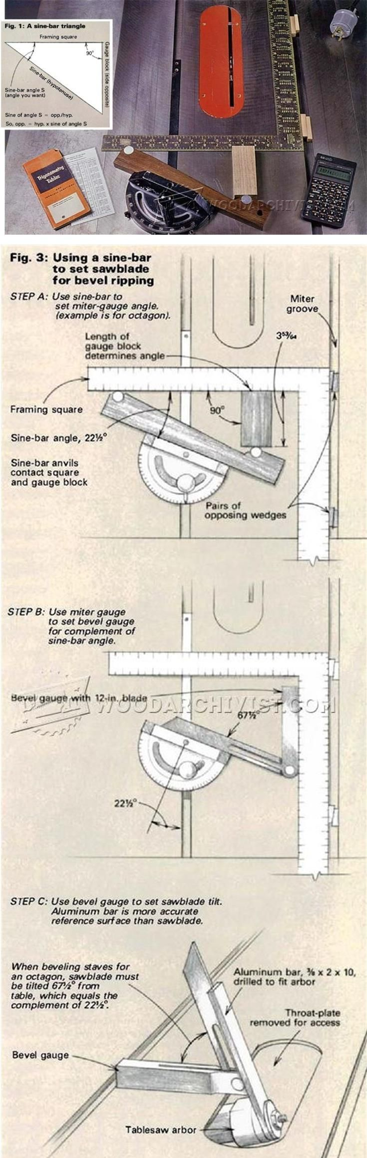 Simple Instrument Sets Precise Angles - Table Saw Tips, Jigs and Fixtures | WoodArchivist.com