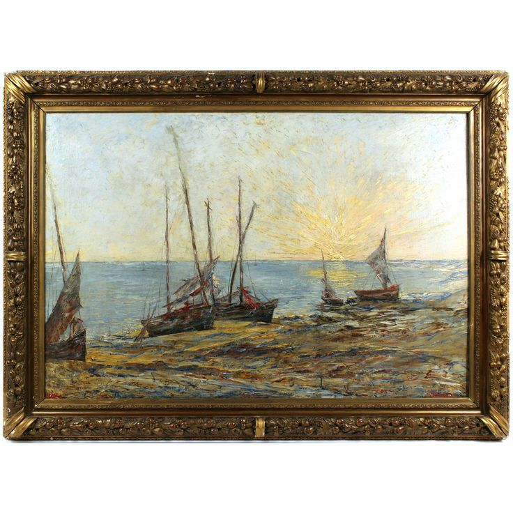 Fishing Boats on a Beach at Sunset, 19th Century, oil on canvas