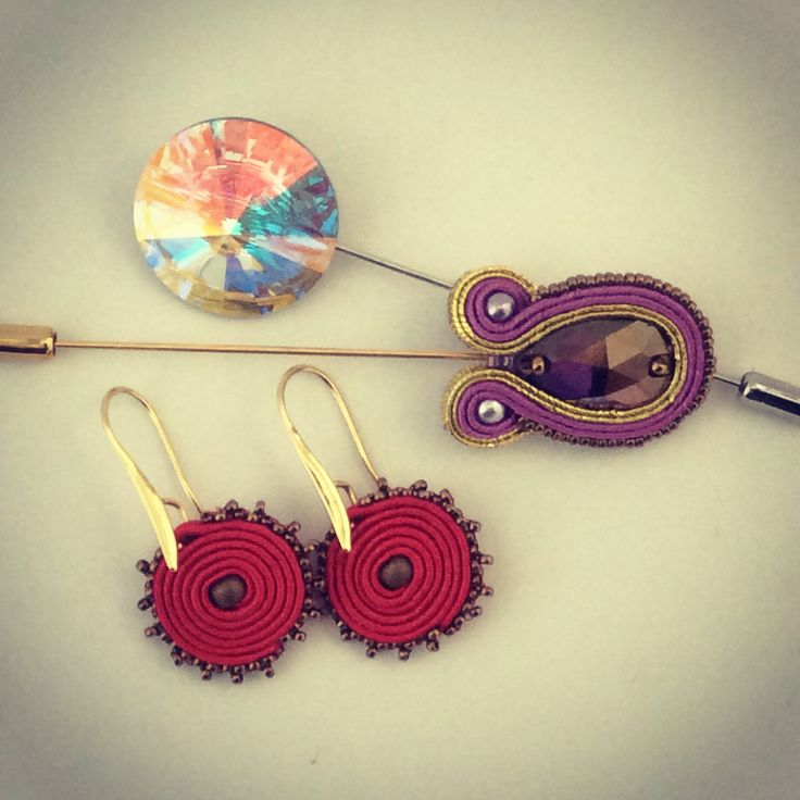 Soutache earrings and stick pins