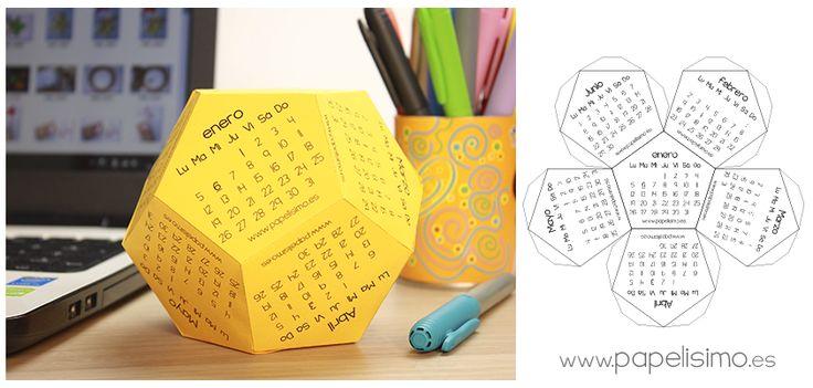 calendario 3d poliedro plantilla para descargar imprimir pdf