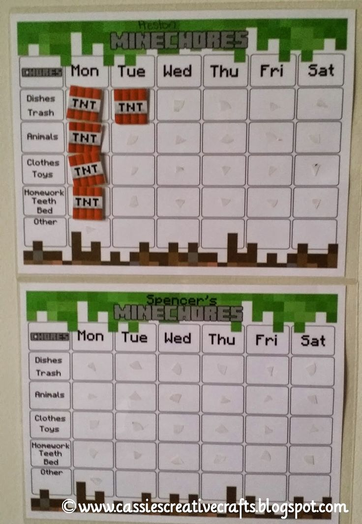 Cassie's Creative Crafts: Free Minecraft Chore Chart & Award System with Printables