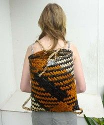 Navy and Burnt Orange Kete Backpack - kete, backpack, flax, made, maori, coloured, new, ... - Shopenzed.com