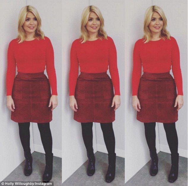 holly willoughby this morning outfits   Red-dy for anything: Holly showed off her latest fashionable look with ...
