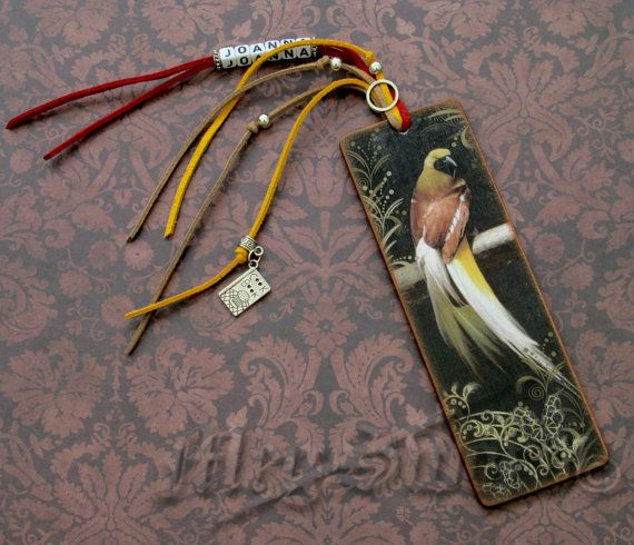 WOODEN BOOKMARK parrots handmade decoupage one copy by MEGSWORD