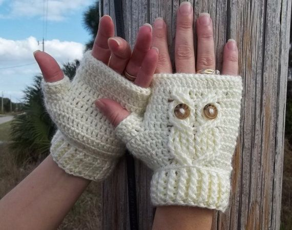 Get the pattern for Nan to make me. Yellow/blue/pink It's a Hoot Owl Texting Gloves, a fingerless crochet mitt PATTERN.. $5.99, via Etsy.