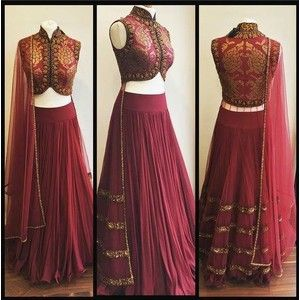 gold embroidery burgundy lehenga