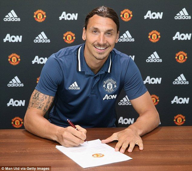 Ibrahimovic was beaming as he finally signed a one-year contract at Old Trafford after months of speculation