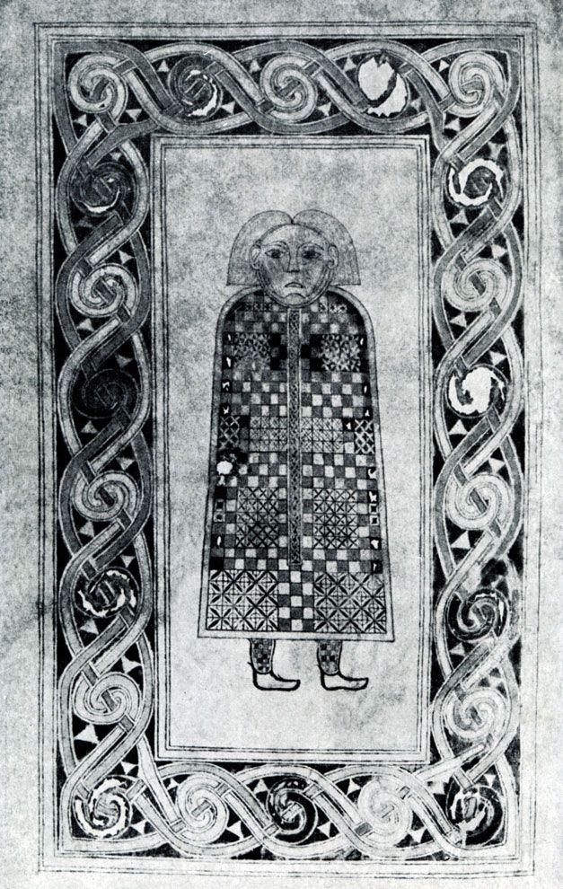 160.  Символ евангелиста Матфея. Миниатюра Евангелия из Дурроу. Около 700 г. Дублин. Тринити-колледж, библиотека.