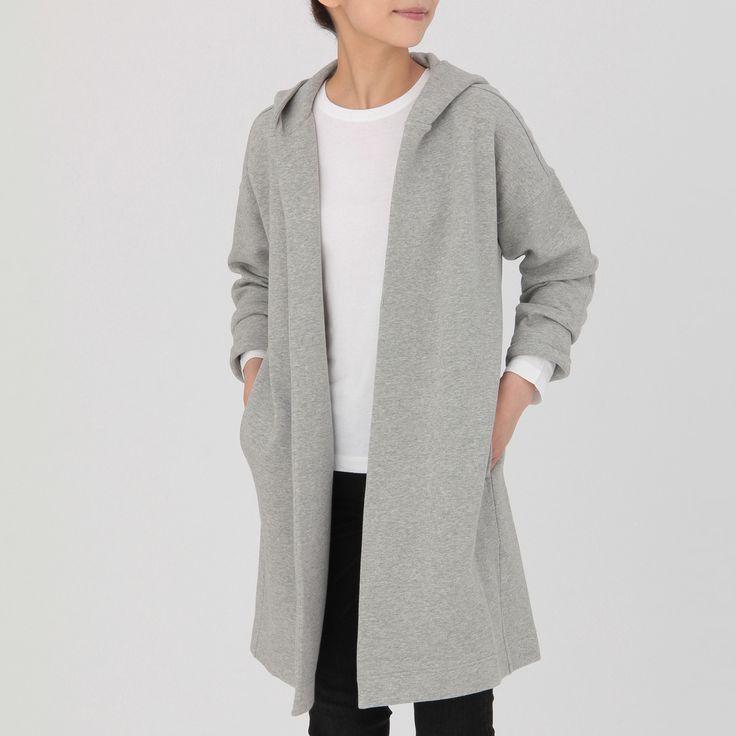 オーガニックコットン混二重編みフード付コート 婦人XS~S・ライトシルバーグレー | 無印良品ネットストア