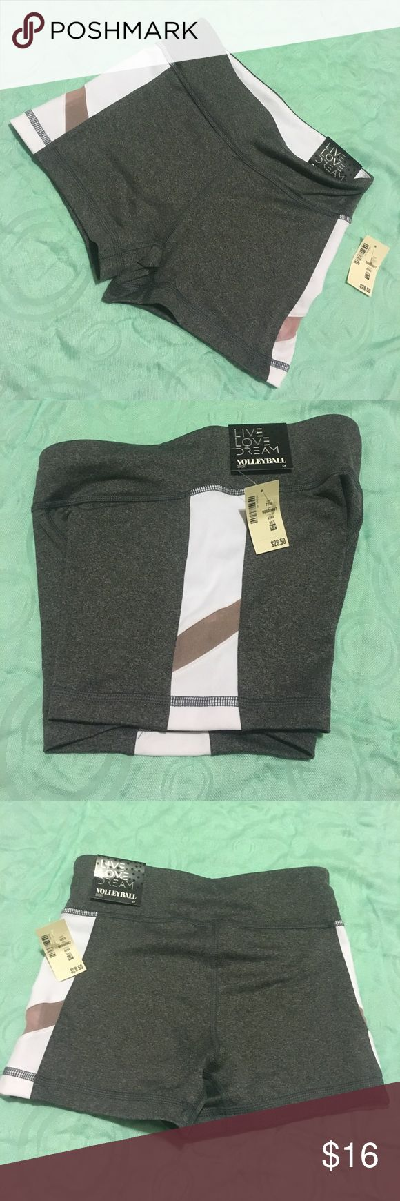"NWT Live Love Dream ""Volleyball Shorts"" Adorable grey volleyball shorts with white accent strip and maroon mesh peek-a-boo! New with tags! Aeropostale Shorts"
