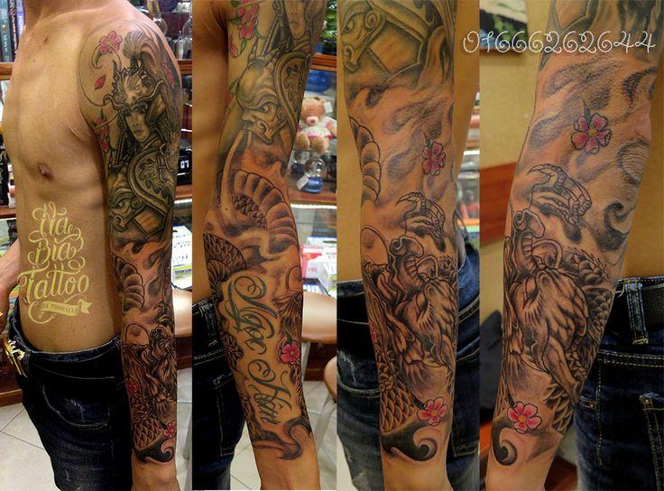 Dragon tattoo, Arm tattoo, warriors tattoo, full arm tattoo, hình xăm rồng, hình xăm triệu tử long, hình xăm đẹp, hình xăm Hà Nội.
