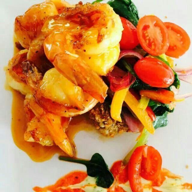 Pasionfruit Shrimp w/chickhen peas rice croquets by Chef Benjamin Figueroa @ Bamboleio Joyudas Cabo Rojo Puerto Rico