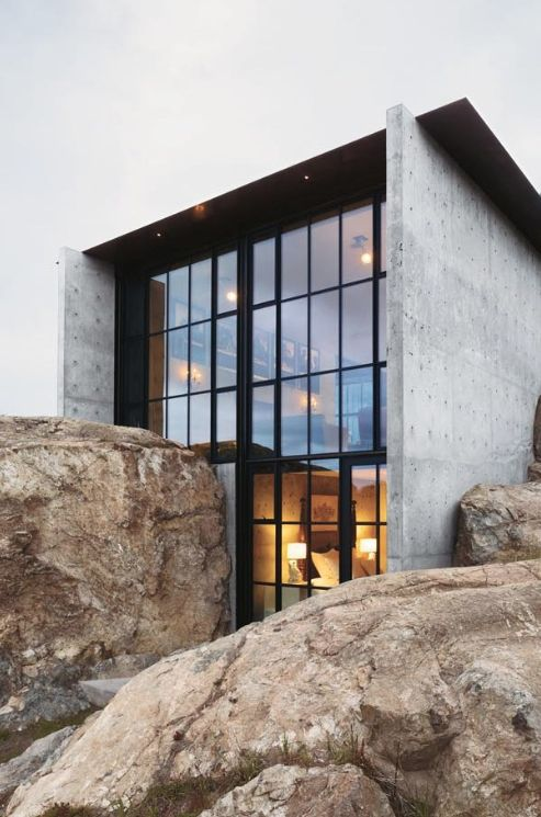 Concrete & glass.
